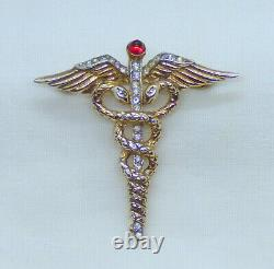 Extremely Rare WWII Era Crown Trifari Alfred Philippe Sterling Caduceus Brooch