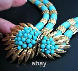 Fabulous Crown Trifari Alfred Philippe Trifanium Faux Turquoise Beads Necklace