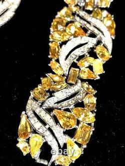 GLISTENING Alfred Philippe Crown Trifari Citrine & Rhinestone Bracelet & Brooch