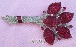 Huge Rare Invisible Set Ruby Waffle Stone RS Brooch Alfred Philippe Trifari KTF