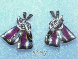 Important Alfred Philippe Signed Crown Trifari Invisibly Set Earrings Rare-minty