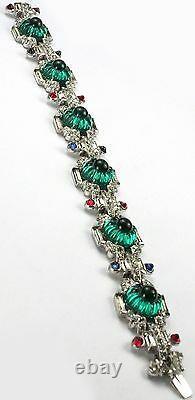 KTF Trifari Alfred Philippe 1930s Jewels of India Emerald Fruit Salads Bracelet