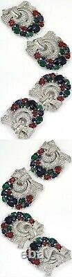 KTF Trifari'Alfred Philippe' Pair of Deco Fruit Salad Pave Bow Swirl Pin Clips