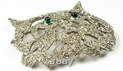 KTF Trifari'Alfred Philippe' Pave and Emerald Cabochon Eyes Cat Face Pin