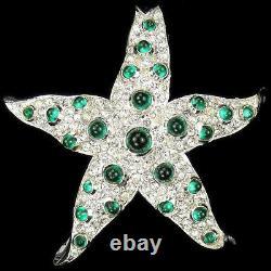 KTF Trifari'Alfred Philippe' Pave and Emerald Cabochons Starfish Pin