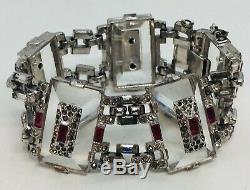KTF Trifari Alfred Philippe Rare Art Deco Clear Crystal Red Rhinestone Bracelet