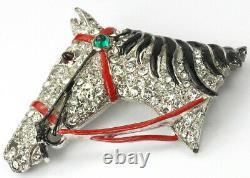KTF Trifari'Alfred Philippe' Rhinestone and Enamel Horse Head Pin