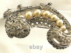 Large Alfred Philippe Crown Trifari Rhinestone Embedded & Faux Pearl Fur Pin