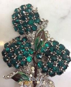 Large TRIFARI ALFRED PHILIPPE Green Rhinestone Enamel Flower Pin Brooch Unsigned