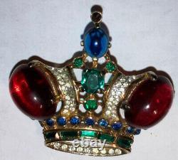 Large Vintage 1940s Sterling Silver Trifari Alfred Philippe Regal Crown Brooch