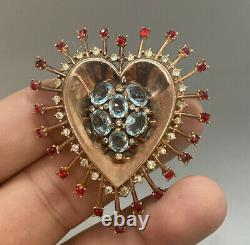 Lovely Trifari Alfred Philippe Sterling Silver Rhinestone Heart Dress Clip Pin