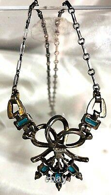 Pat Pend Alfred Philippe Crown Trifari Emerald & Ruby Rhinestone Necklace