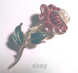 Pink ALFRED PHILIPPE Art Deco CROWN TRIFARI Crystal ENAMEL FLOWER Pearl PIN