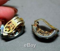 RARE Alfred Philippe Crown Trifari Sterling Silver Vermeil Fur Pin & Earrings
