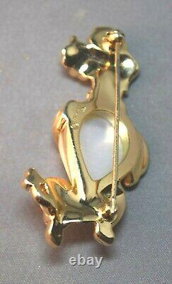 RARE Alfred Philippe Figural Poodle Brooch With Faux Pearl Belly & Rhinestones