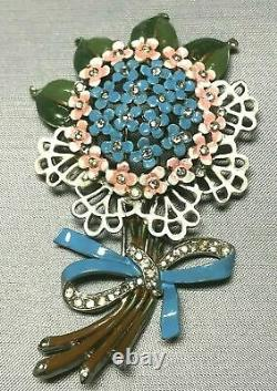 RARE Crown Trifari Alfred Philippe Enameled Flower Bouquet Large Fur Pin Brooch