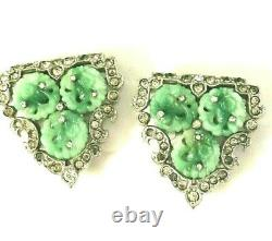 RARE KTF Alfred Philippe Crown Trifari Carved Faux Jade Pair MING Dress Clips