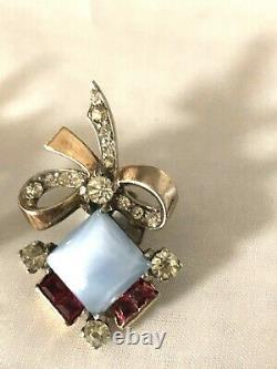 RARE Sterling Silver Trifari Alfred Philippe Invisibly Set Brooch & Earrings