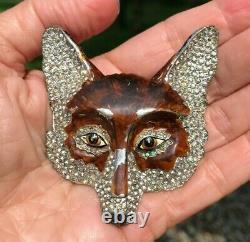 RARE Trifari'Alfred Philippe' Pave Rhinestone & Enamel Red Fox Head Pin Brooch
