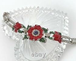 RARE Trifari Enamel Flower Bracelet, Red Floral Rhinestone Alfred Philippe