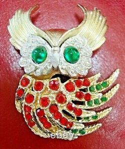 RARE Vintage 1960 TRIFARI Alfred Philippe'FIREBIRDS' Rhinestones Owl Brooch Pin