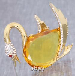 RARE Vintage Signed TRIFARI ALFRED PHILIPPE Sterling Swan Amber Cut Glass Belly