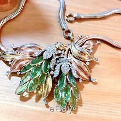 RARE Vintage Trifari Alfred Philippe Peridot Green Double Lotus Flower Necklace