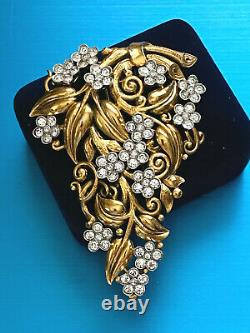 Rare1939 Crown Trifari Alfred Philippe Gold Plated Crystals Fur Clip Tag2