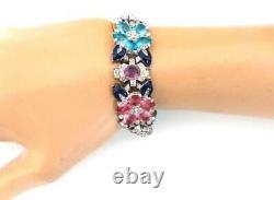 Rare 1939 Trifari Alfred Philippe Pastel Stones Flowers Enamel Leaves Bracelet