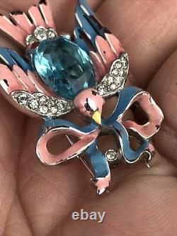 Rare 1941 Alfred Philippe Crown Trifari Enamel Rhinestone Pink Blue Bird Brooch