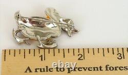 Rare Antique Crown Trifari Alfred Philippe The Angry Duck Brooch Rhinestone Pin