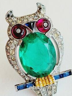 Rare Book Piece Trifari Alfred Philippe Flawed Emerald Belly Owl Fur Clip