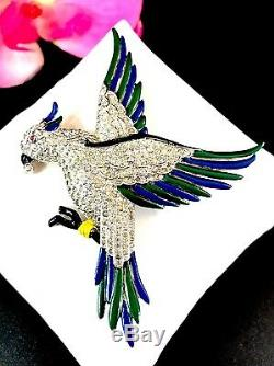 Rare Exceptional 1937 Ktf Trifari Alfred Philippe Parakeet Bird On Branch Brooch