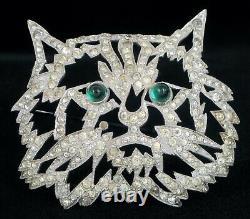 Rare Ktf Trifari Alfred Philippe Emerald Cabochon Eyes Cat Rhinestone Brooch Pin