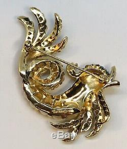 Rare Signed Crown Trifari Alfred Philippe Jeweled Under Sea Dolphin Pin