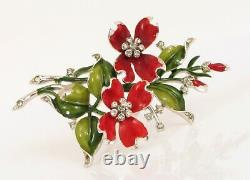 Rare Signed Crown Trifari Alfred Philippe Red Pansy Flower Brooch Rhinestone