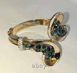 Rare & Stunning Alfred Philippe Signed Trifari Multi Stone Cuff Bracelet 1930's