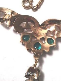 Rare TRIFARI Art Deco Alfred Philippe Green Rhinestone Enamel Sterling Necklace