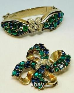 Rare Trifari Alfred Philippe Gold Sapphire & Emerald Jeweled Symphony Bracelet