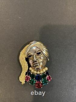 Rare Trifari Alfred Philippe Multi-Color Rhinestones Faux Pearl Lady Face Brooch
