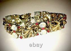 Rare Trifari Alfred Philippe Sterling Ruby Moonstone Leaf Bracelet