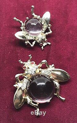 Rare Trifari Sterling Silver Alfred Philippe Lucite Jelly Belly Bug Set