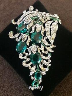 Rare! Vintage Deco Crown Trifari Alfred Philippe Emerald & Paste Fur Clip Brooch