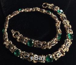Rare Vintage Trifari Alfred Philippe NecklaceGreen Glass/RS/Enamel/Goldtone