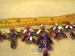 Rare Vintage Trifari Alfred Philippe Necklace Pink Glass/RS/RainbowithGoldtone