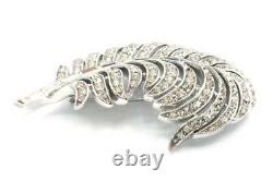 Rare Vtg Crown Trifari Alfred Philippe Pave & Baguette Rhinestone Feather Brooch