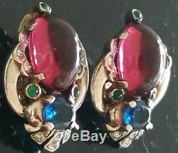 Rare! Vtg Singed Trifari Alfred Philippe Sterling Silver Cabochon Earrings