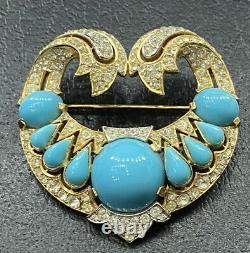 Rare Vtg Trifari Alfred Philippe Jewels of India Turquoise Jeweled Mogul Brooch