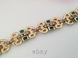 Rare signed CROWN TRIFARI Alfred Philippe Art Deco rhinestone link Bracelet