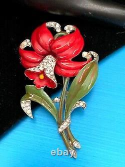 Raretrifari Alfred Philippe Red Enamel Pave' Crystals Daffodil Flower Brooch